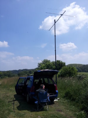 4M5N50U 70MHz 5ele PowAbeam in use with M0PCB during VHF NFD 2013