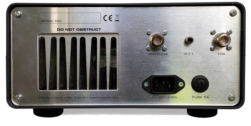 Linear Amp Gemini 4 70MHz solid state amplifier rear view